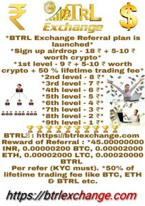 Earn cryptocurrency btrl and other coin and earn refer income