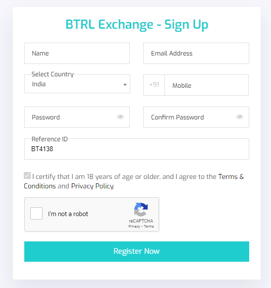 btrl exchange sign up form